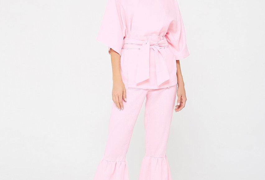 Пижама из льна с воланами