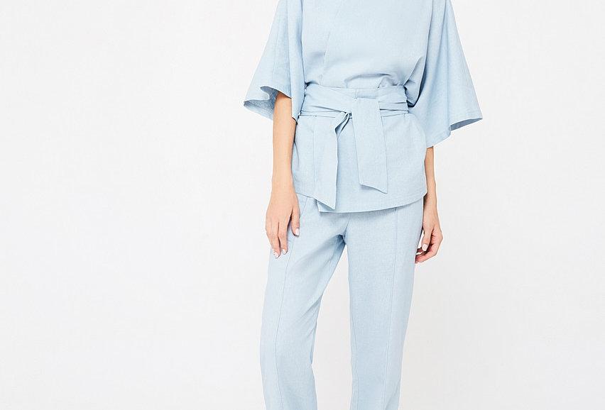 Пижама из льна с удлиненными брюками