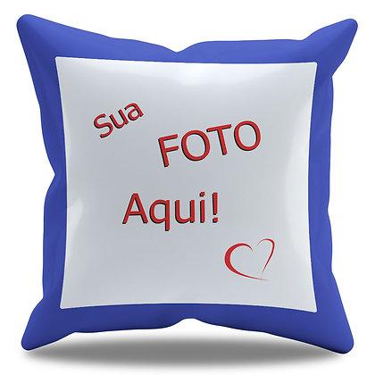 Almofada Personalizada com Foto e Borda Azul