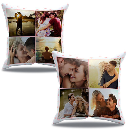 Almofada Personalizada Amor - Namorados com 8 fotos fundo claro