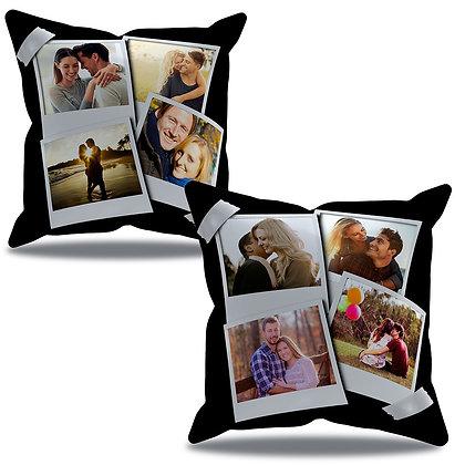 Almofada Personalizada - com 8 fotos fundo preto