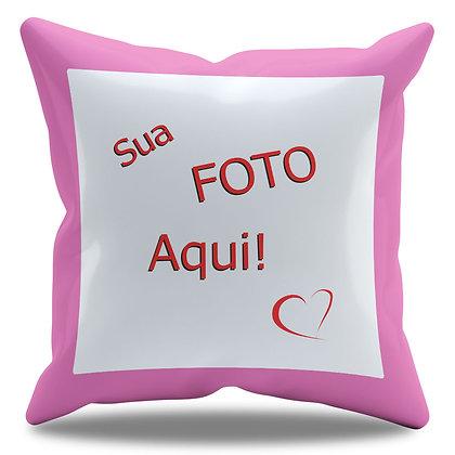 Almofada Personalizada com Foto e Borda Rosa