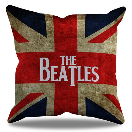 Almofada Personalizada Beatles Fundo Bandeira Inglaterra