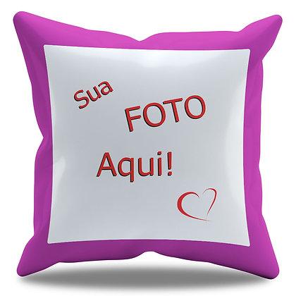 Almofada Personalizada com Foto e Borda Roxa