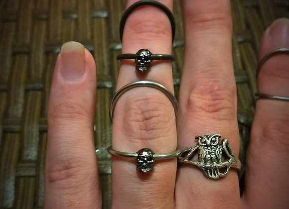Swan Neck Ring with Skull Charm