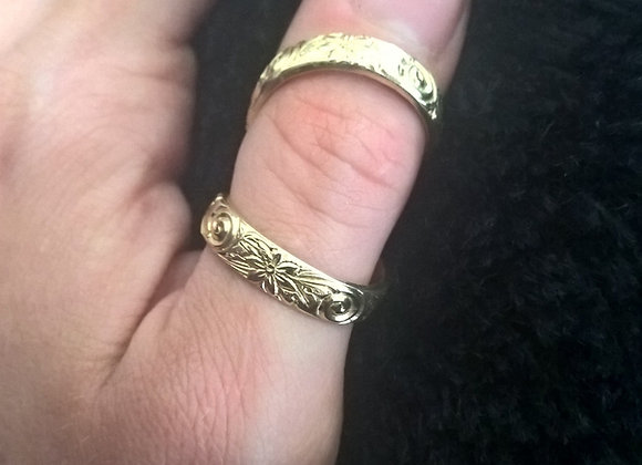 Wide Band Gold Fill Swan Neck Ring Splint
