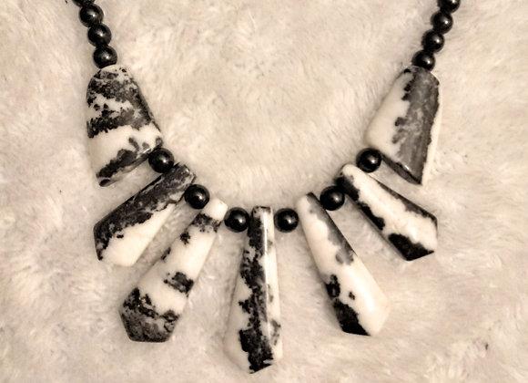 Zebra Gemstone Fan Necklace