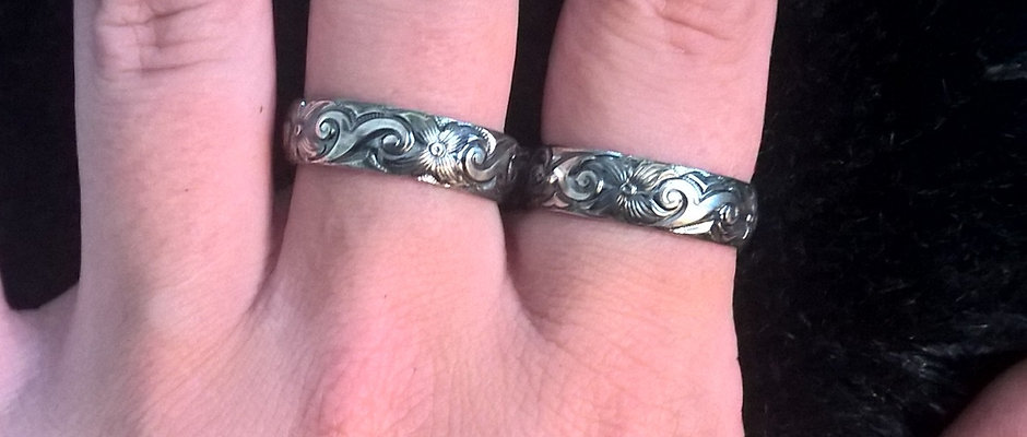 Buddy Ring in Wide Floral Sterling Silver