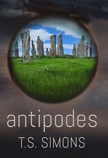 Cover of Antipodes novel. Dome containing standing stones.