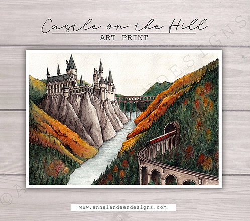 Castle on the Hill Watercolor Art Print