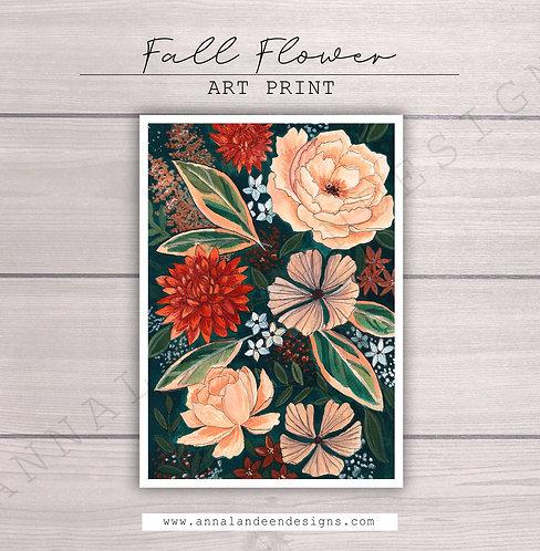 Fall Flowers Gouache Art Print