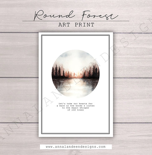 Round Forest Watercolor Art Print