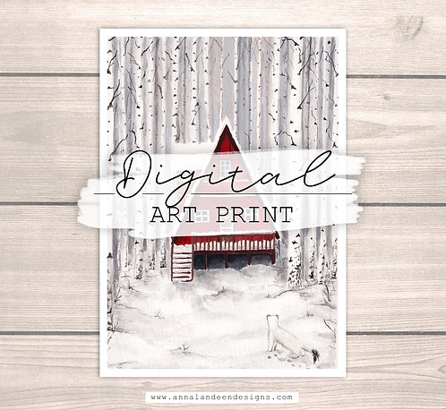 Red Cabin | Digital Art Print