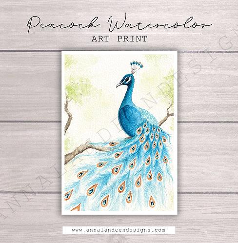 Blue Peacock Watercolor Art Print