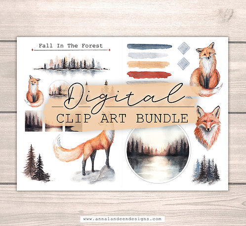 Fall In The Forest   Digital Clip Art Bundle