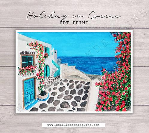 Holiday In Greece Gouache Art Print