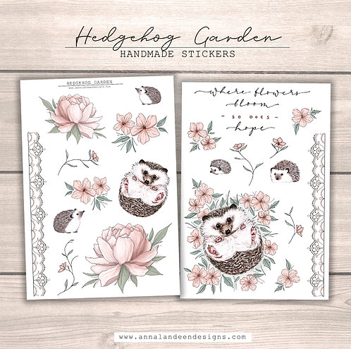 Hedgehog Garden Sticker Collection