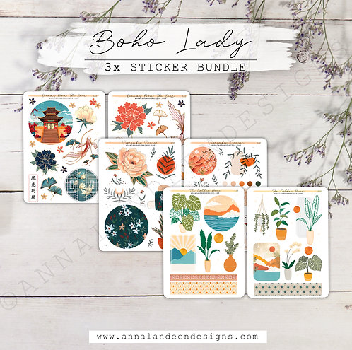 Boho Lady | 3-Sticker Bundle