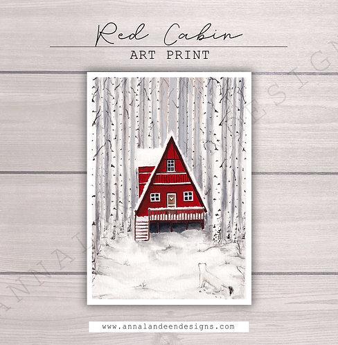Red Cabin Gouache Art Print
