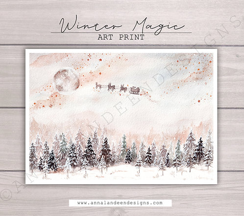 Winter Magic Watercolor Art Print
