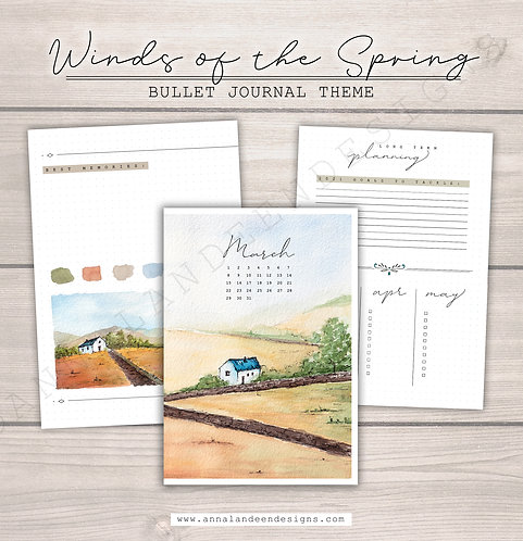 Winds Of The Spring | Digital Bullet Journal Theme
