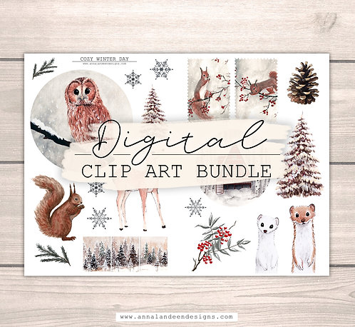 Cozy Winter Day | Digital Clip Art Bundle