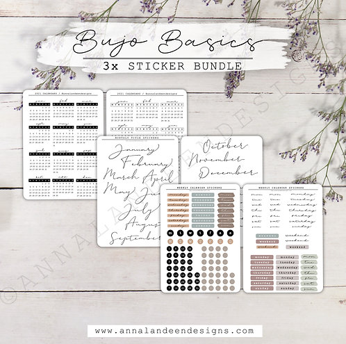 Bujo Basics | 3-Sticker Bundle