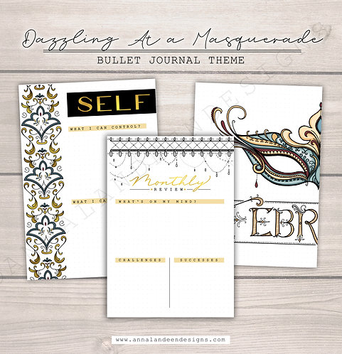 Dazzling At A Masquerade | Digital Bullet Journal Theme