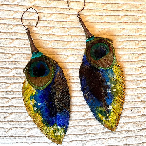 Yellow Blue Peacock Leather earrings