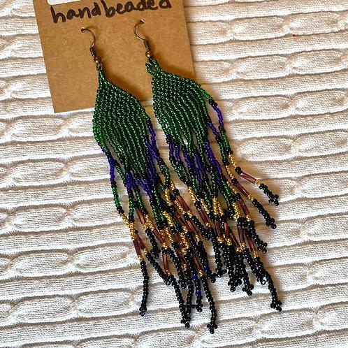 Green, Purple beaded earrings
