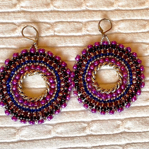 Purple Bead Round earrings