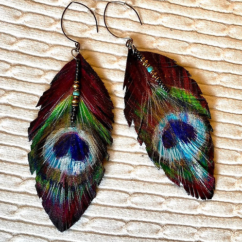 Peacock leather earrings