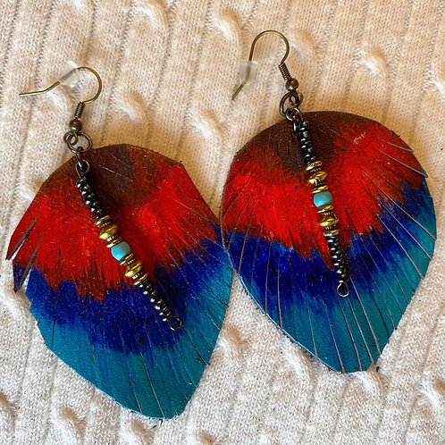 Red Blue leather earrings