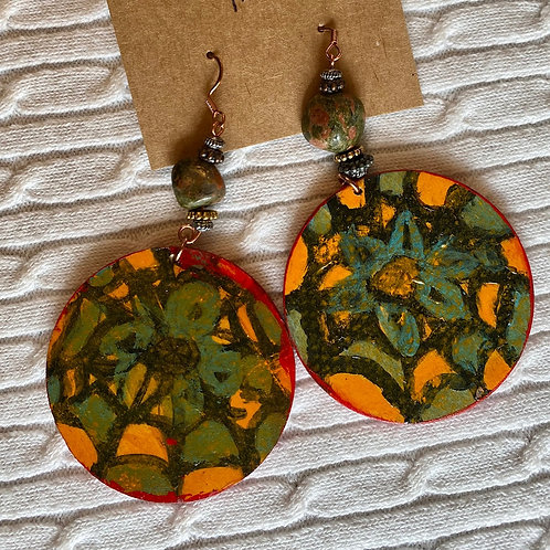 Orange abstract earrings