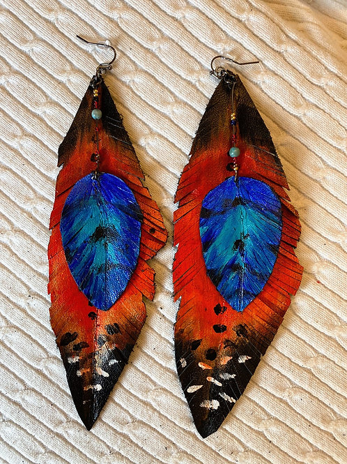 Orange and blue layered leather earrings