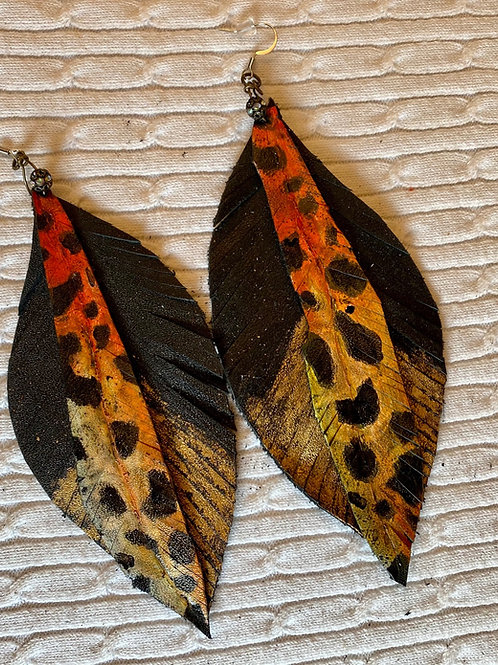 Orange leopard earrings