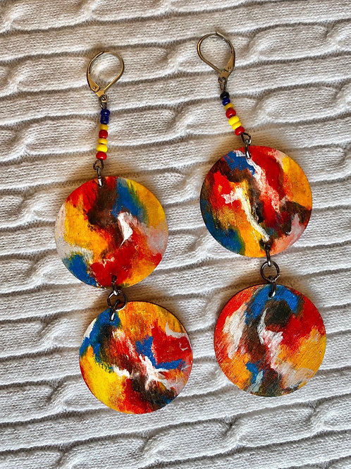 Abstract rainbow earrings