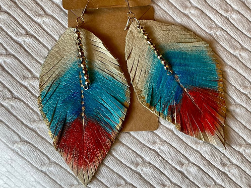 TanTeal Red leather earrings