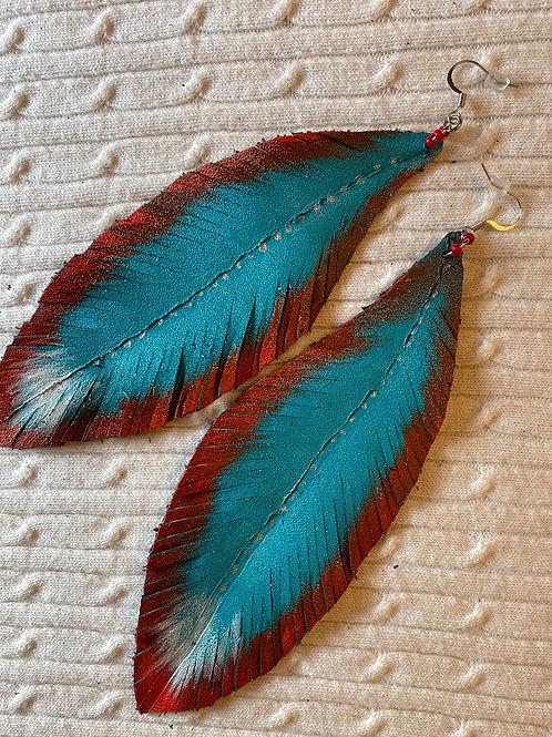 Teal blue leather earrings