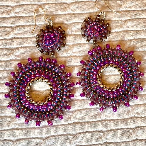 Purple beaded earrings