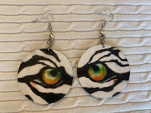 White tiger earrings