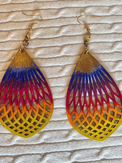 Multi woodcut earrings