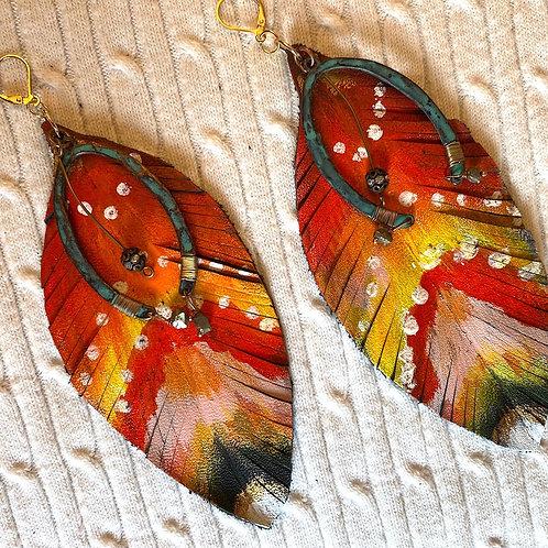 Orange tribal Earrings