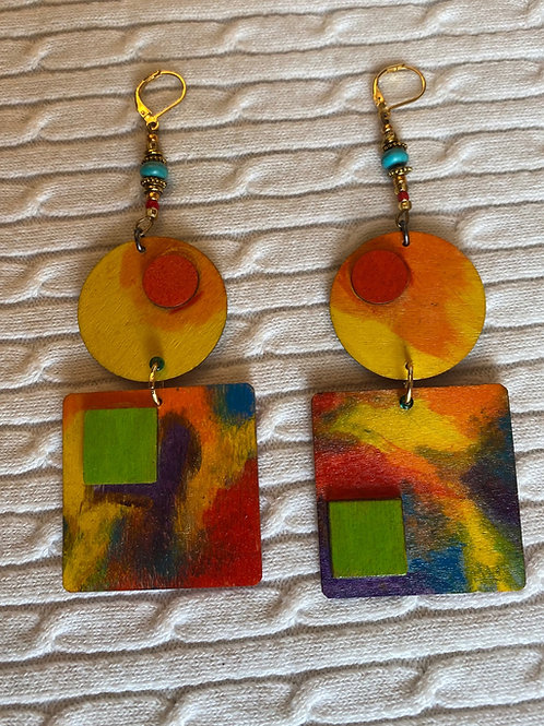 Geometric rainbow earrings
