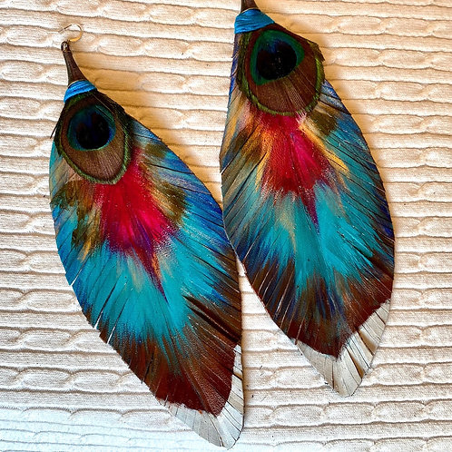Magenta and light blue leather earrings