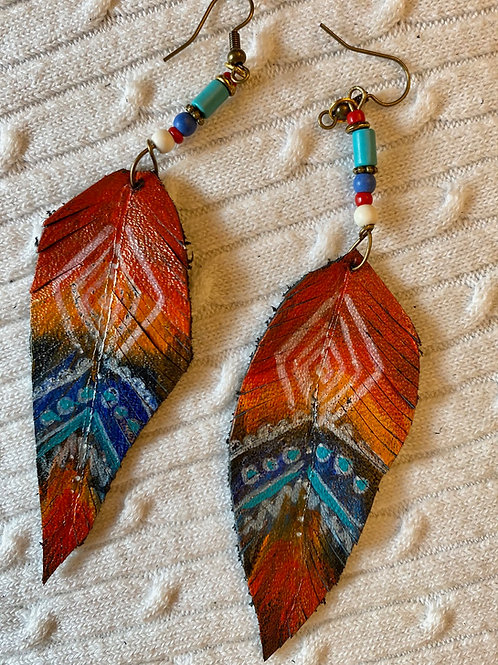 Orange-multi colored leather earrings