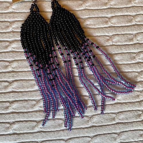 Black, lavender earrings