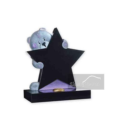 Oscar Bear Granite Headstone Black