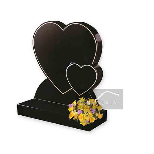 The Beaumont Heart Granite Headstone Black