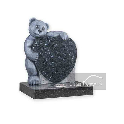 Fluffy Bear Granite Headstone Blue Pearl